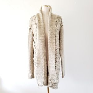 HINGE Small Beige Chunky Cable Knit Open Cardigan